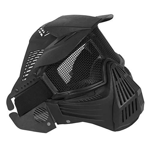 ZCP Masque Airsoft Acier Mesh Masques Tactique Protection Facial pour tir CS Jeu Halloween Costume,Noir