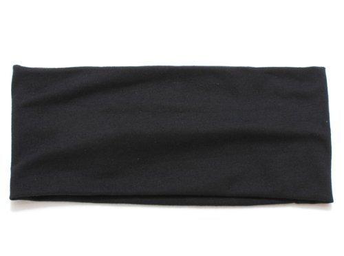 SODIAL(R) femmes large Yoga Danse Sport bandeau elastique cheveux bande Turban noir