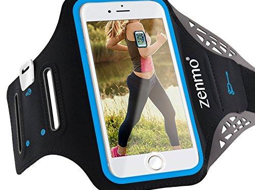 Brassard Sport iPhone 7, zenmo Etui Brassard pour le Jogging / Gym / Course avec sangle réglable compatible avec iPhone 7/ 6s/ 6/ 5, Samsung Galaxy S3/ S4 et les autres smartphones inférieur à 4.7 Pouces (Noir)