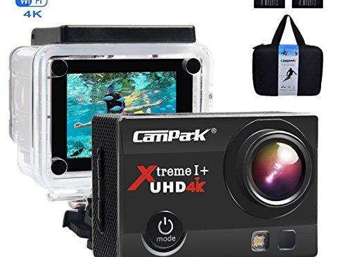Campark ACT74 Caméra Sport 4K/1080P WiFi 16MP Ultra HD Caméra d'Action Etanche 30M, 170 °Grand-Angle, 2 pouces LCD, avec 2 Batterie et inclut des Kits Complets d'Accessoires