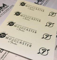 fender squier 51 mojocaster custom headstock logo waterslide decal  [ 1440 x 1080 Pixel ]