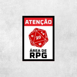 Placa Decorativa Área de RPG - Loja Nerd