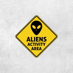 Placa Decorativa Área de Atividade Alien - Loja Nerd