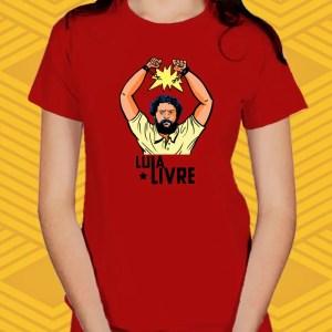 Camiseta Vermelha Lula Livre Baby Look
