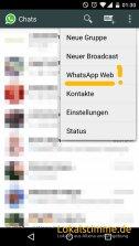 """Im Menü von WhatsApp auf """"WhatsApp Web"""" klicken."""