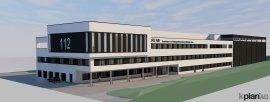 So wird das neue Brandschutz- und Rettungsdienstzentrum aussehen, wenn es fertig ist. Grafik: Kplan/Märkischer Kreis
