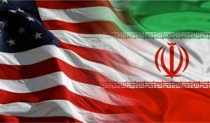 usa and iran flags