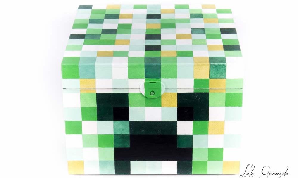 Caja de madera Creeper de Minecraft