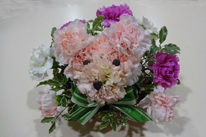 Illustration du Caniche en art floral