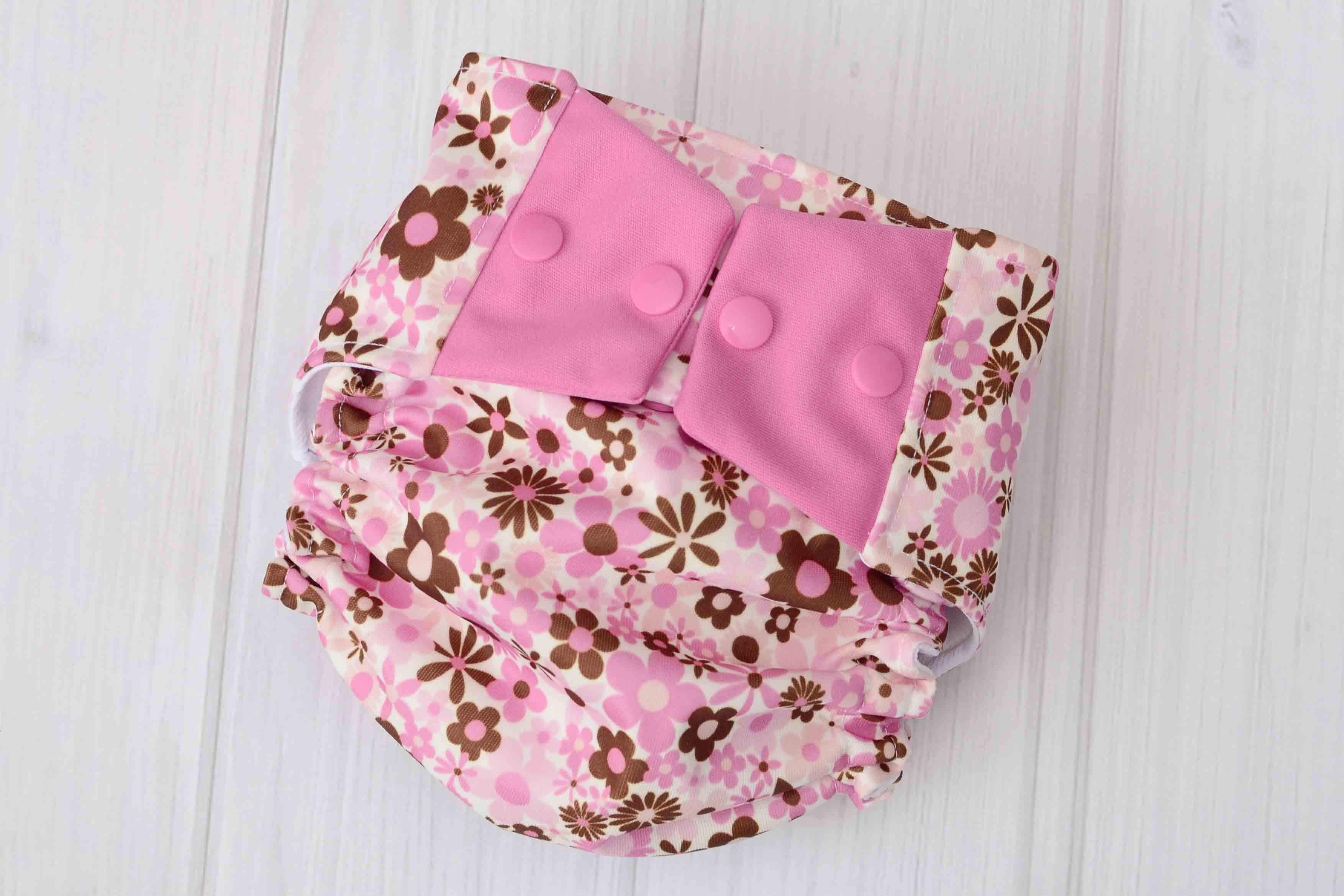 Pink Flowers Cloth Diaper Cover