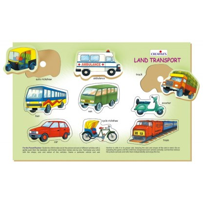 Play & Learn - Wooden puzzle - Land Transport