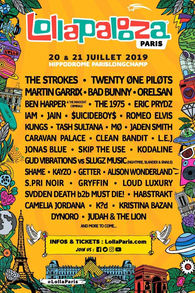 Lineup del Lollapalooza París 2019