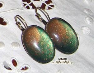 Boucles d'oreilles vert dégradé