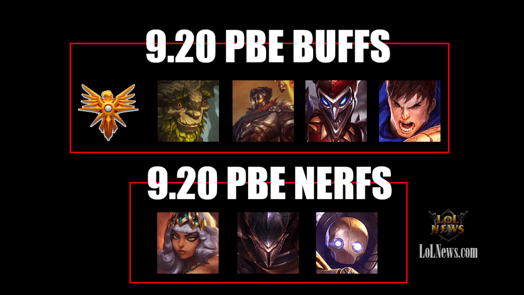 League of Legends – Patch 9.20 PBE BUFFS and NERFS