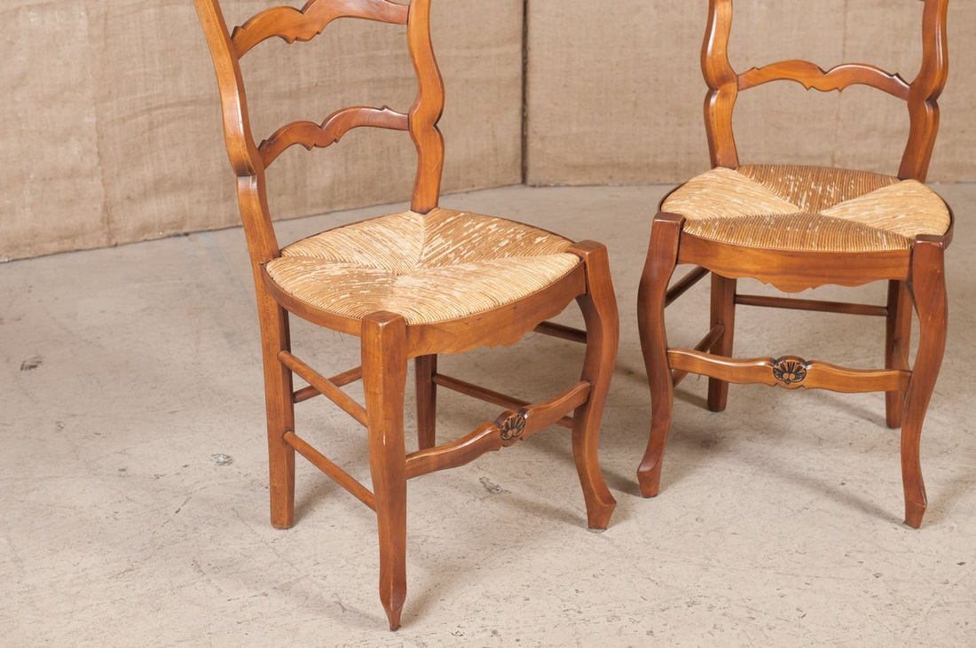 rush seat chairs bedroom swing chair ebay lolo french antiques set of eight country et more
