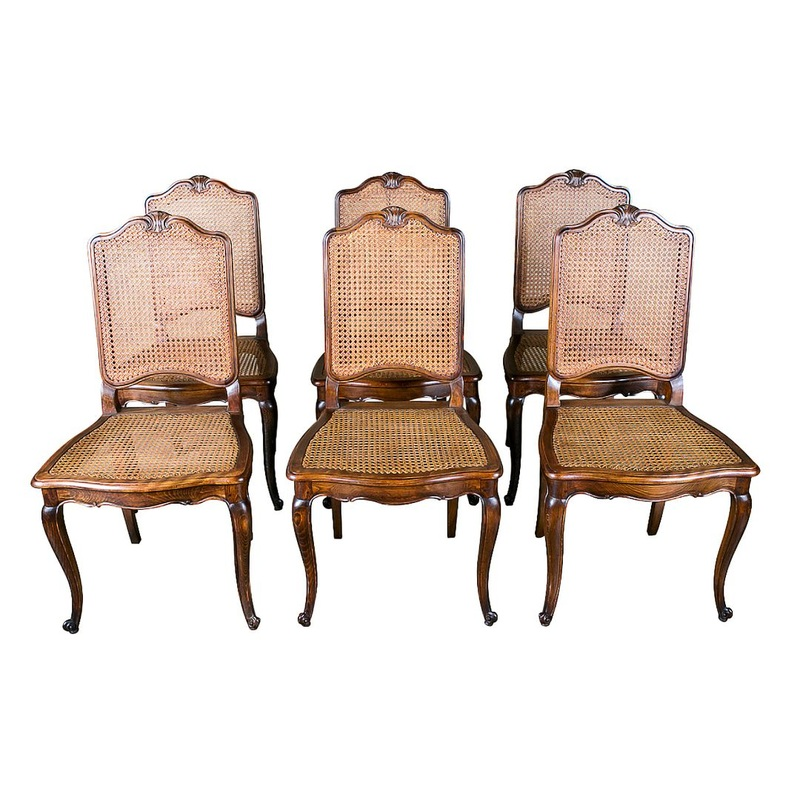 antique cane dining room chairs shower wheel chair lolo french antiques louis xv style set of 6 et more