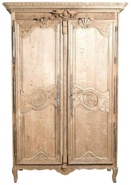 lolo french antiques country french louis xv style washed oak normandy wedding or marriage armoire