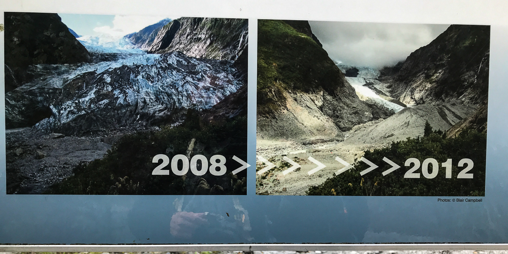 Aperçu du recul du glacier