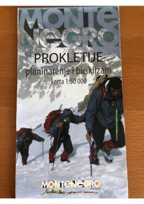 Carte parc Prokletije au 1/50 000 et la plus récente des 5 cartes de tous les parcs, car le parc a été créé il y a 10 ans.