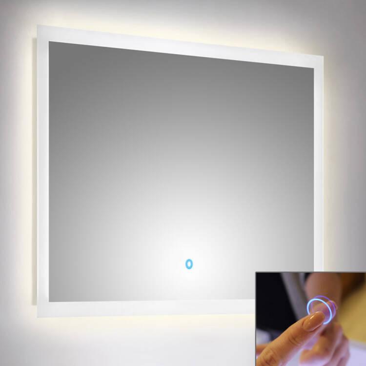 LED Spiegel mit Touch Bedienung B x H x T ca  80 x 60 x 32 cm