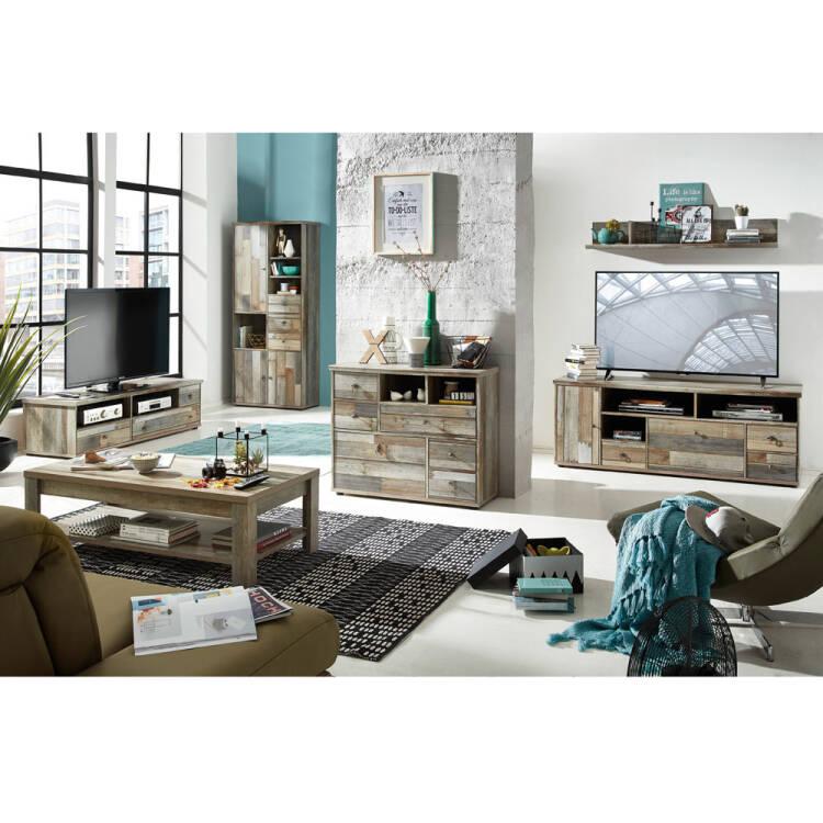 Wohnzimmer Komplett Set Driftwood braun Industrial Design