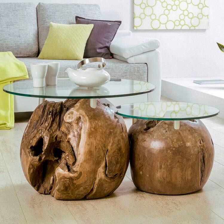two set table unikat set of side tables with teak balls glass plates