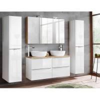 Badmöbel Set mit Doppel Waschtisch inkl. 2 Aufsatzwaschbecken TOSKANA