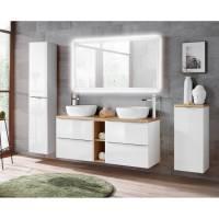Badmöbel Komplett Set weiß Hochglanz mit Doppel Waschtisch ...