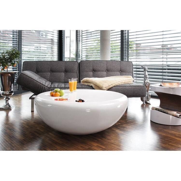 coffee table round white high gloss fiberglass w d h 100 100 38cm