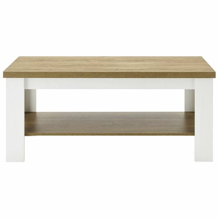 country house coffee table pisa 61 in pine white and light oak w h d ca 120 50 60 cm