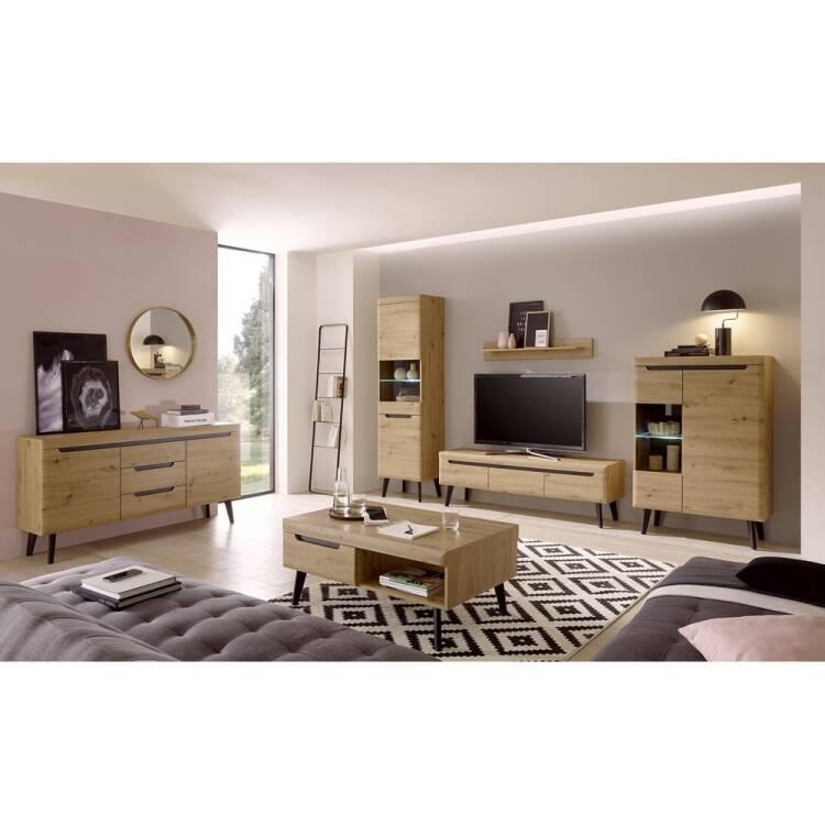 Living Room Set In Oak Artisan With Black Tirol 61 Scandinavian Design