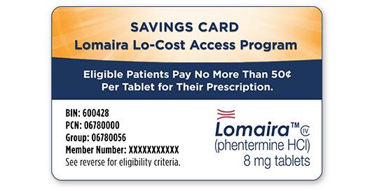 Lomaira™ (phentermine hydrochloride USP) 8 mg tablets CIV