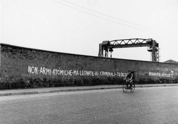 Scritte murali Sesto San Giovanni  Paesaggio industriale  Fabbrica  Muro di cinta  Scritta murale  Carroponte  Uomo in bicicletta