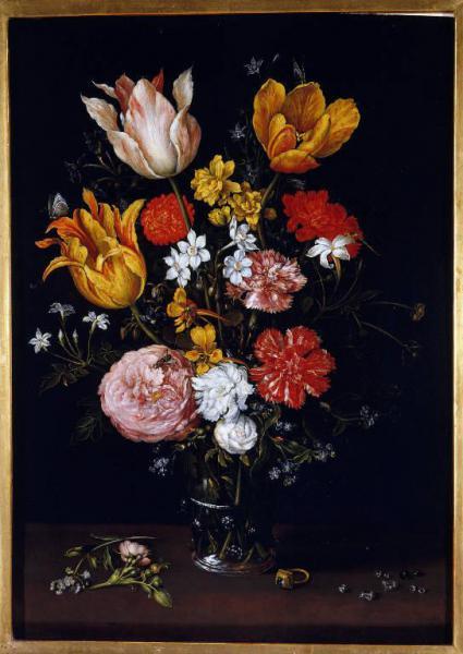 Natura morta con vaso di fiori anello e diamanti