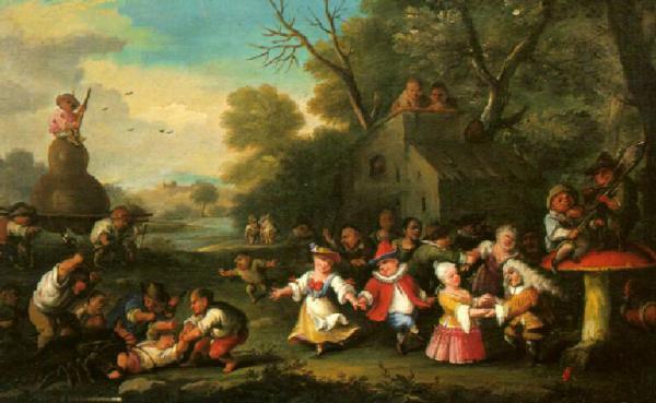 Festa campestre in un villaggio di nani Bocchi Faustino detto Bamboccio  Opere e oggetti d