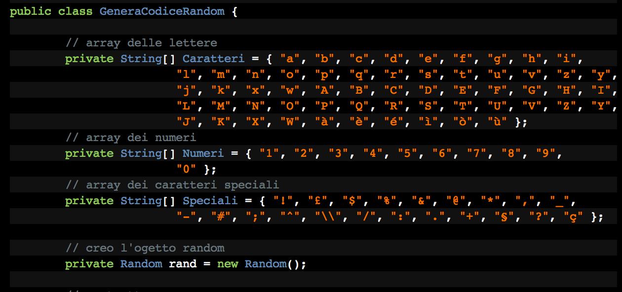 Classe Java Per Generare Codici Random Andrea Lombardo