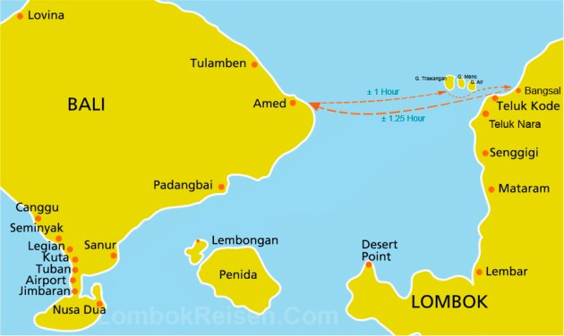 Route Map Bali to Gili Island and Lombok