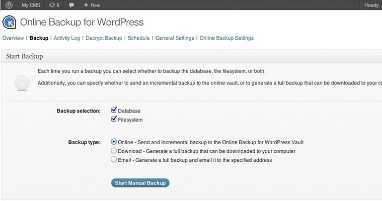 Plugin de copia de seguridad Online Backup para WordPress