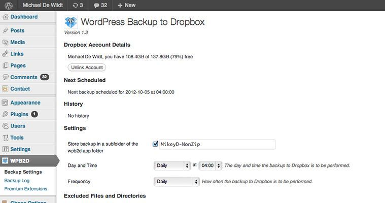 Herramienta de backups WordPress Backup Dropbox