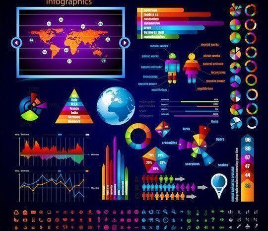 Colorful Infographics Charts & Comparisons Vector Set - Plantillas para infografías gratuitas