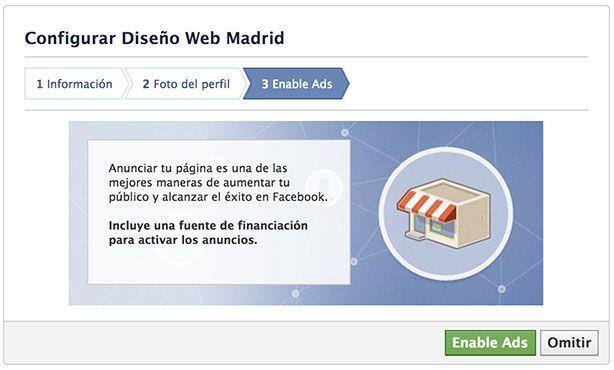 Abrir página de empresa en Facebook - Anuncios