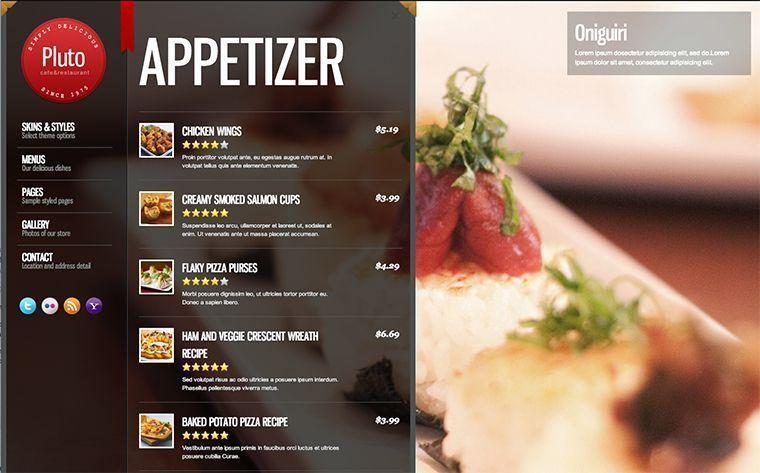 Diseño de sitios web para restaurantes - El menú