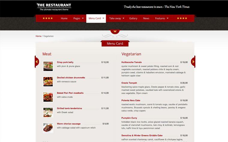Creación de sitios web para restaurantes - Diseño del menú