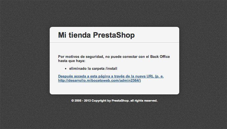 Crear una tienda online con PrestaShop - Error
