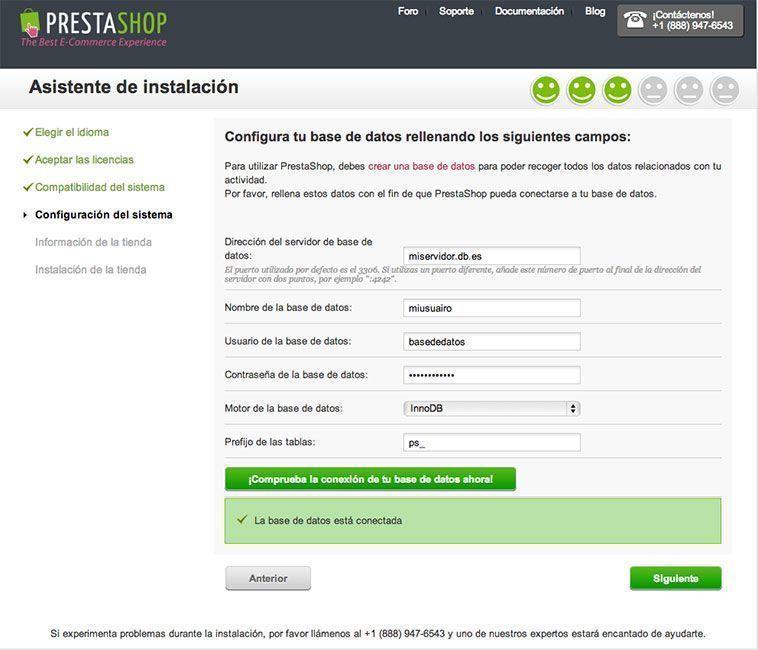 Crear una tienda online con PrestaShop - Validación de la base de datos