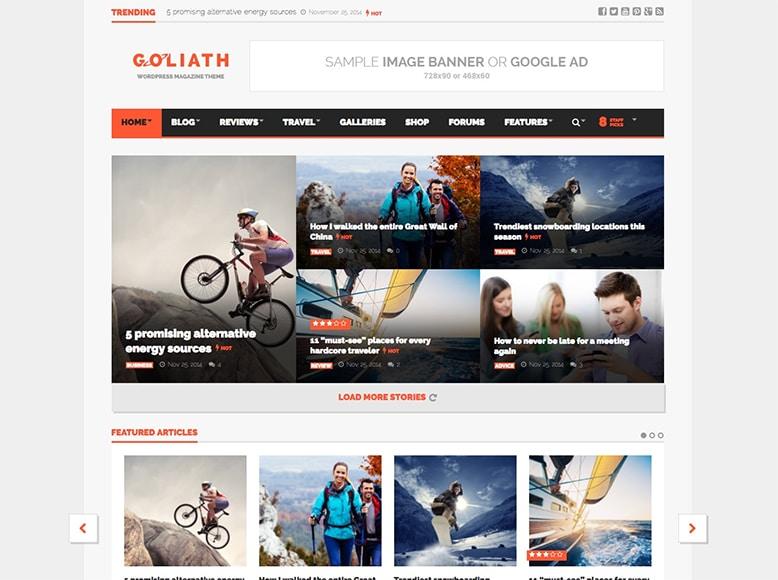 Goliath - Tema WordPress para revistas digitales modernas