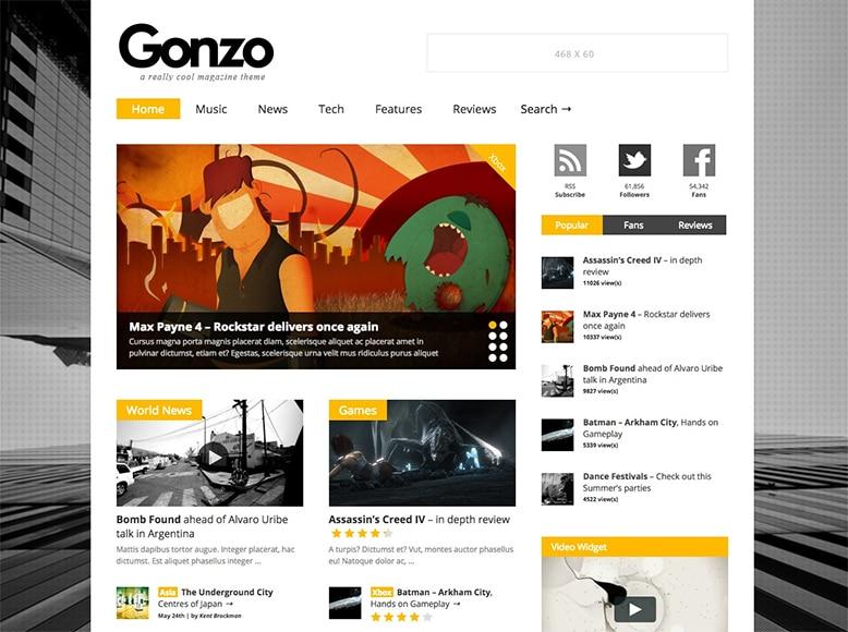 Gonzo - Tema WordPress para revistas digitales