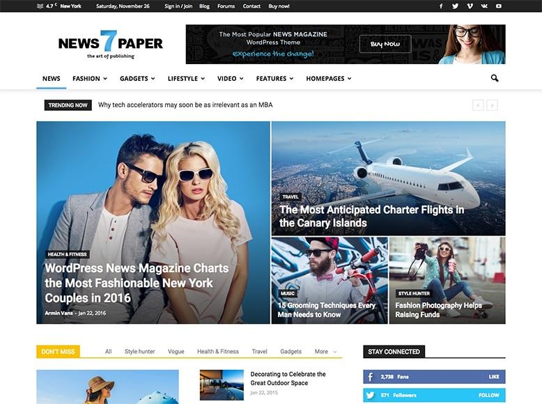 Newspaper 7 - Tema WordPress para revistas online y sitios web de noticias
