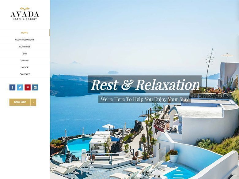 Avada - Plantilla WordPress para hoteles y resorts