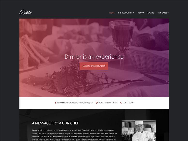 Resto - Plantilla WordPress para restaurantes y bares